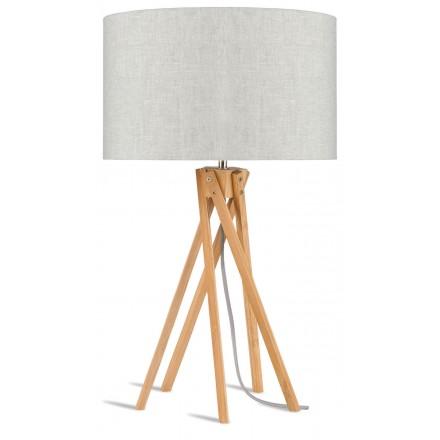 Lampe de table en bambou et abat-jour lin écologique KILIMANJARO (naturel, lin clair)
