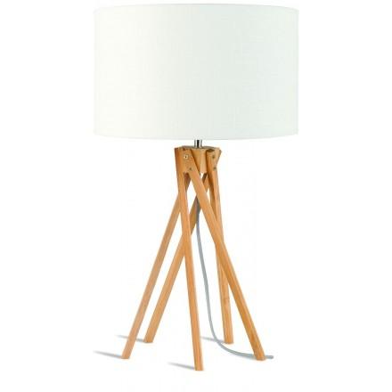 Lampada da tavolo Bamboo e lampada di lino eco-friendly KILIMANJARO (naturale, bianca)