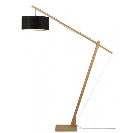 Bambus Stehlampe und MONTBLANC umweltfreundliche Leinen Lampenschirm (natürlich, schwarz)