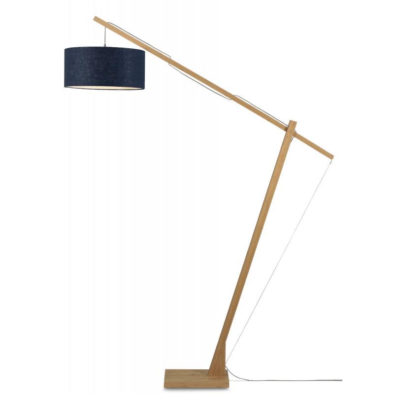 Lampe sur pied en bambou et abat-jour lin écologique MONTBLANC (naturel, bleu jeans) - image 44877