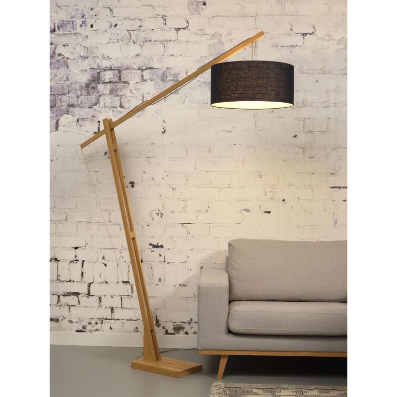 Lampe sur pied en bambou et abat-jour lin écologique MONTBLANC (naturel, bleu jeans) - image 44878