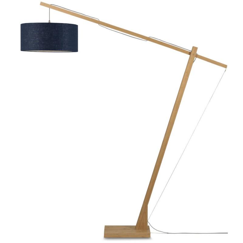 Lampe sur pied en bambou et abat-jour lin écologique MONTBLANC (naturel, bleu jeans) - image 44888
