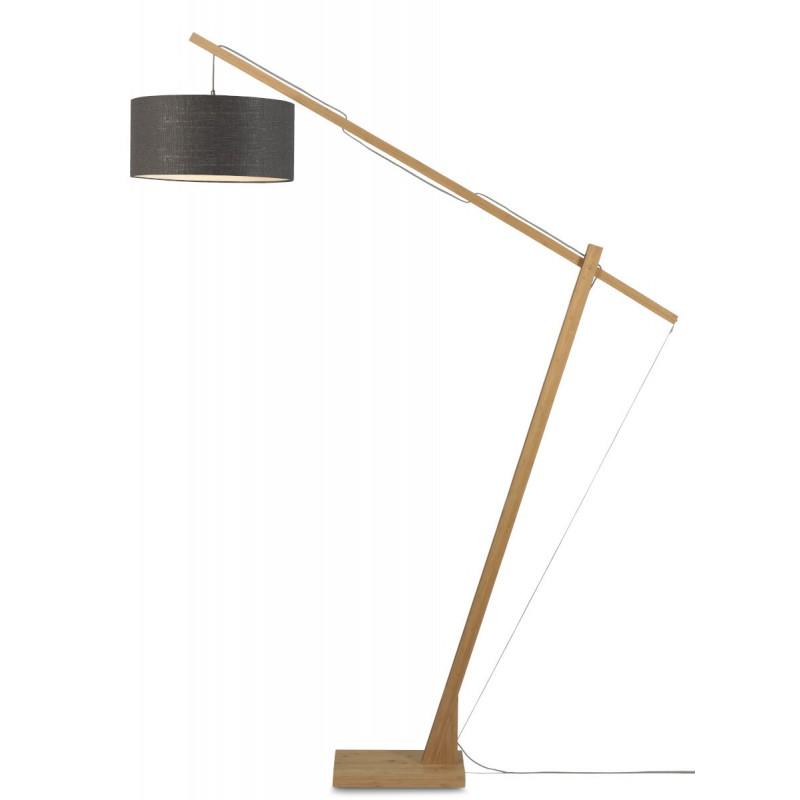 Lámpara de lino ecológica MontBLANC y lámpara de lino verde (natural, gris oscuro)
