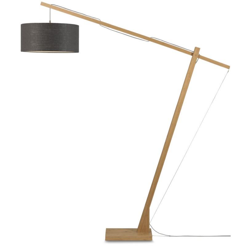 Lampe sur pied en bambou et abat-jour lin écologique MONTBLANC (naturel, gris foncé) - image 44900