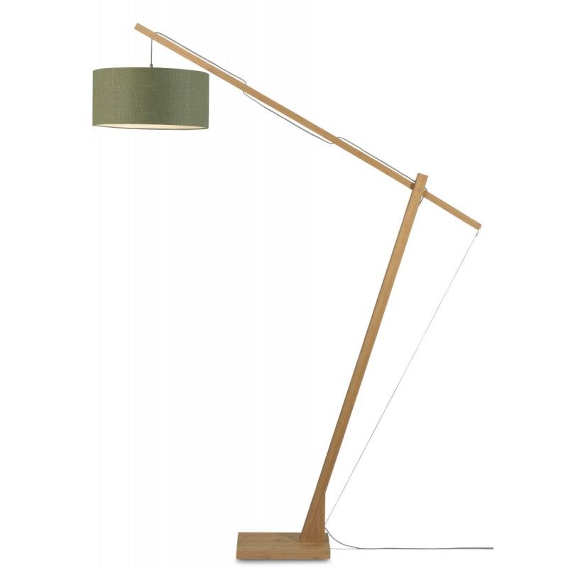 Lampe sur pied en bambou et abat-jour lin écologique MONTBLANC (naturel, vert foncé) - image 44901