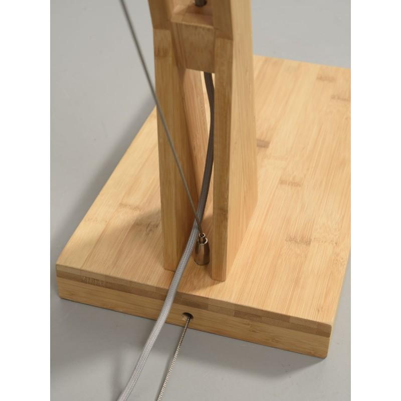 Lampe sur pied en bambou et abat-jour lin écologique MONTBLANC (naturel, vert foncé) - image 44907