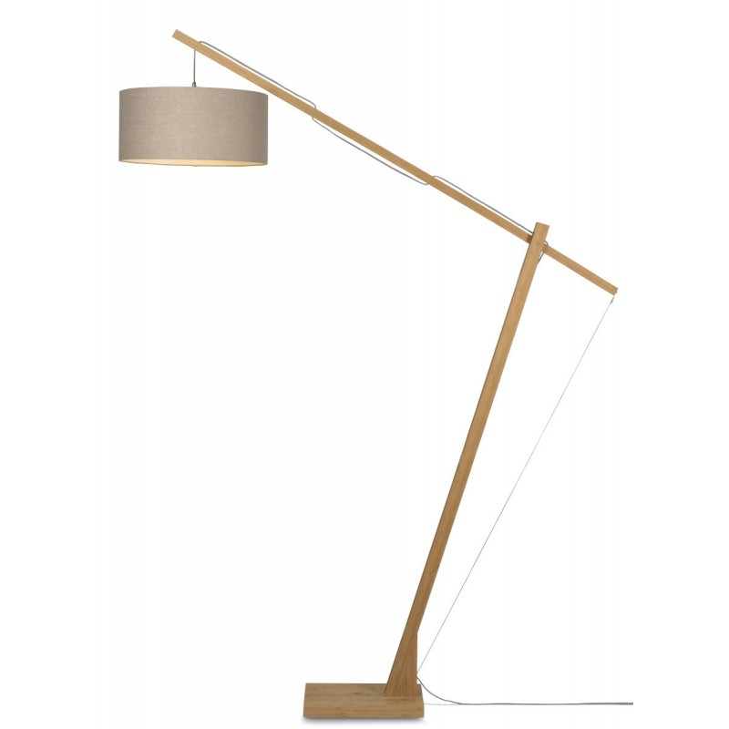 Lampe sur pied en bambou et abat-jour lin écologique MONTBLANC (naturel, lin foncé)