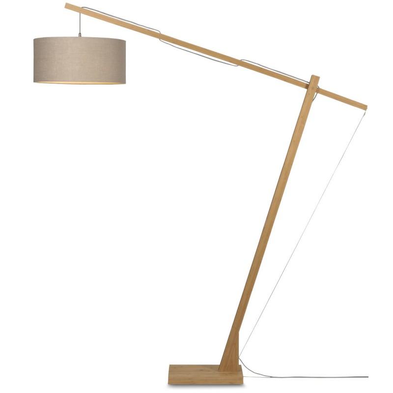 Lampe sur pied en bambou et abat-jour lin écologique MONTBLANC (naturel, lin foncé) - image 44924