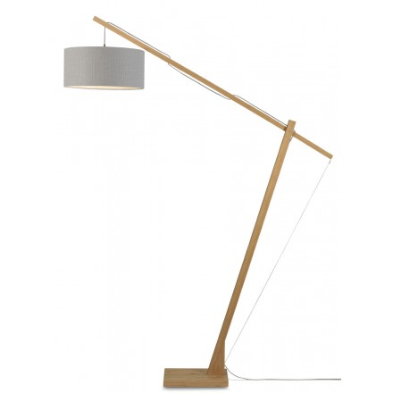 MontBLANC green linen lamp and green linen lampshade (natural, light grey)