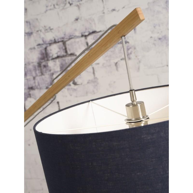 Lampe sur pied en bambou et abat-jour lin écologique MONTBLANC (naturel, gris clair) - image 44933