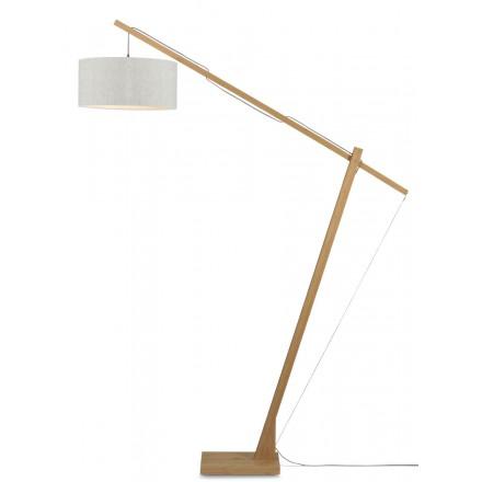 Lampe sur pied en bambou et abat-jour lin écologique MONTBLANC (naturel, lin clair)