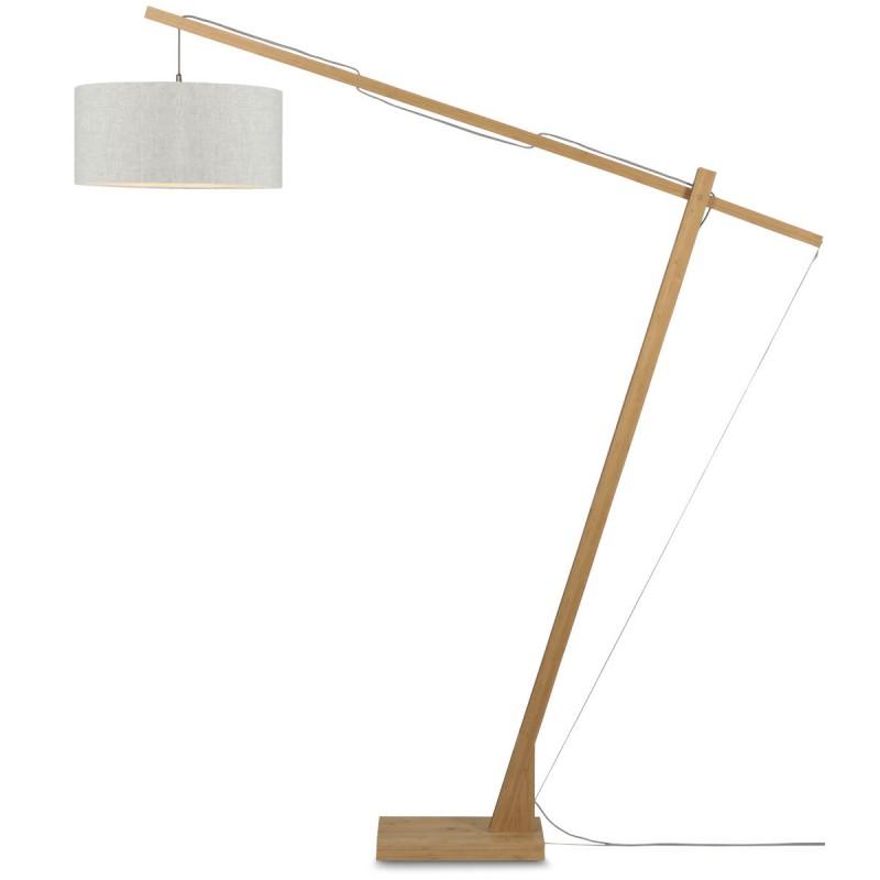 Lámpara de pie de lino verde MontBLANC y pantalla de lino (natural, lino claro) - image 44949