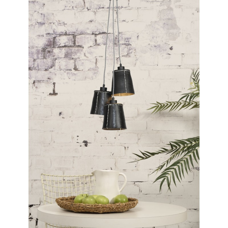 AMAZON SMALL 3 lampshade recycled tire suspension lamp (black) - image 45018