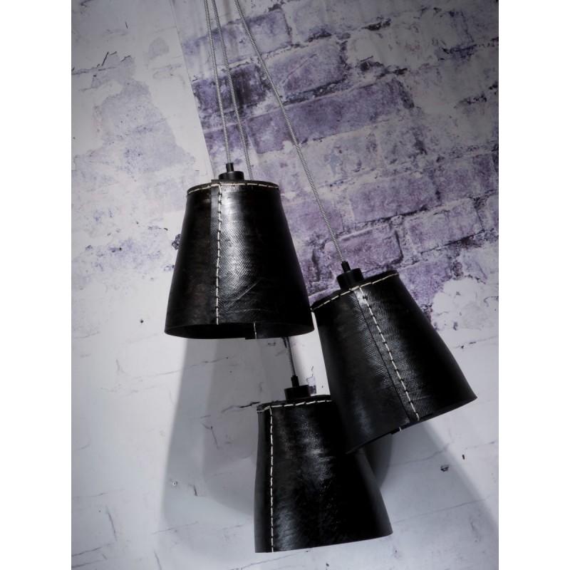 Lampe à suspension en pneu recyclé AMAZON XL 3 abat-jours (noir) - image 45042