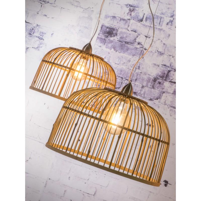 Lámpara de suspensión de bambú BORNEO SMALL 2 pantallas (natural) - image 45067