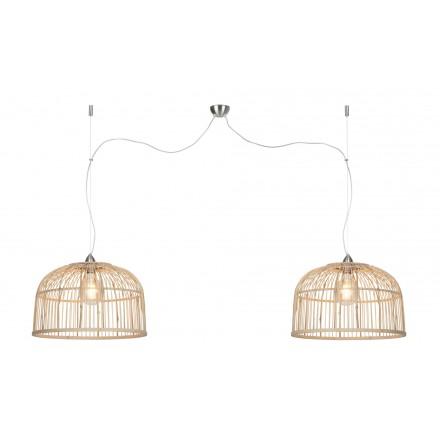 BAMBOO suspension lamp BORNEO XL 2 lampshades (natural)