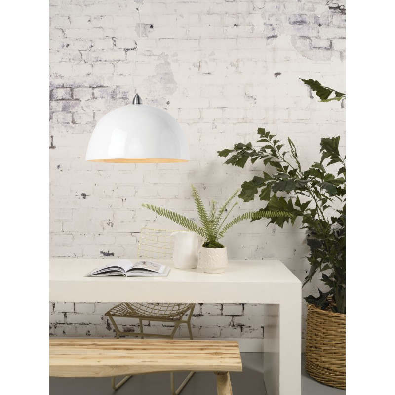 Lampe à suspension en bambou HALONG (blanc) - image 45128