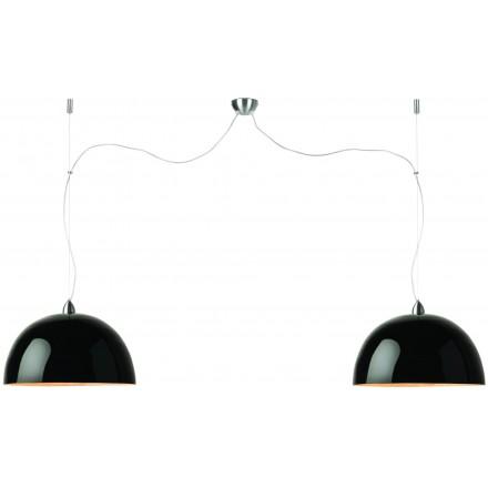Lampe à suspension en bambou HALONG 2 abat-jours (noir)