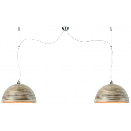 Lampe à suspension en bambou HALONG 2 abat-jours (naturel)