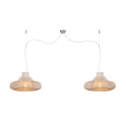 Lampe à suspension en rotin KALAHARI SMALL 2 abat-jours (naturel)