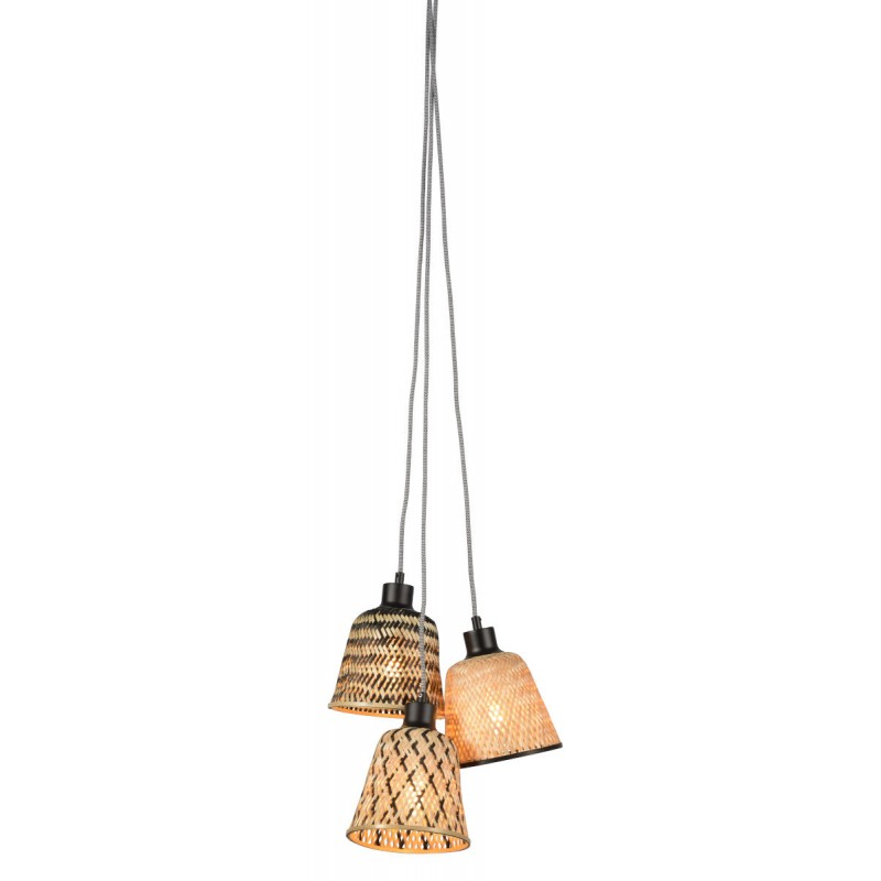 KaliMANTAN lámpara de suspensión de bambú 3 pantallas (natural, negro) - image 45244