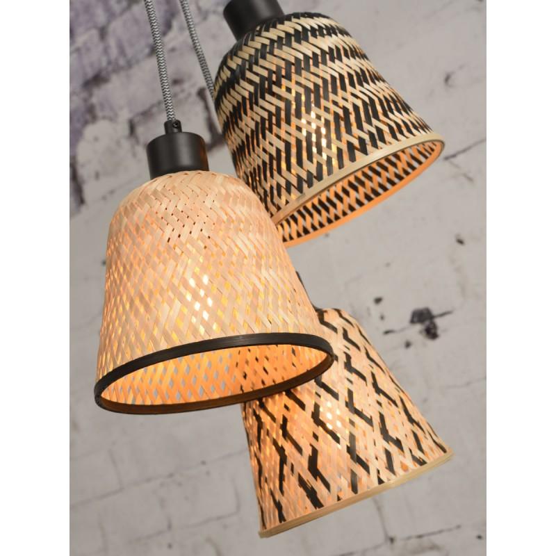 KaliMANTAN lámpara de suspensión de bambú 3 pantallas (natural, negro) - image 45251