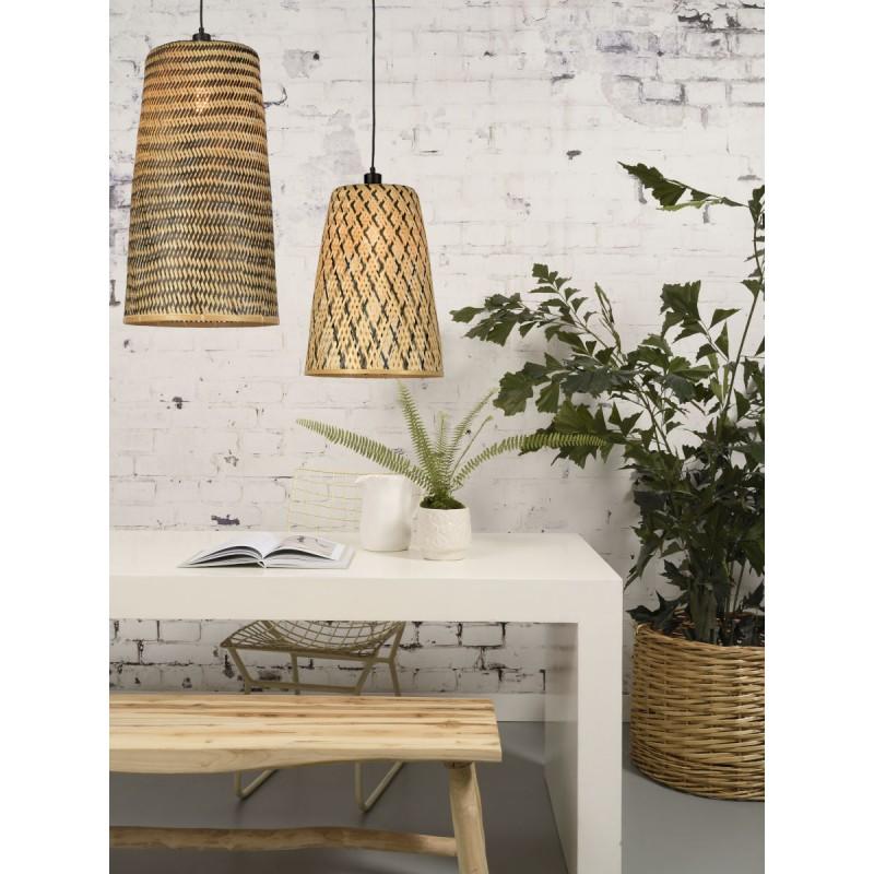 KALIMANTAN H48 bamboo suspension lamp (natural, black) - image 45259