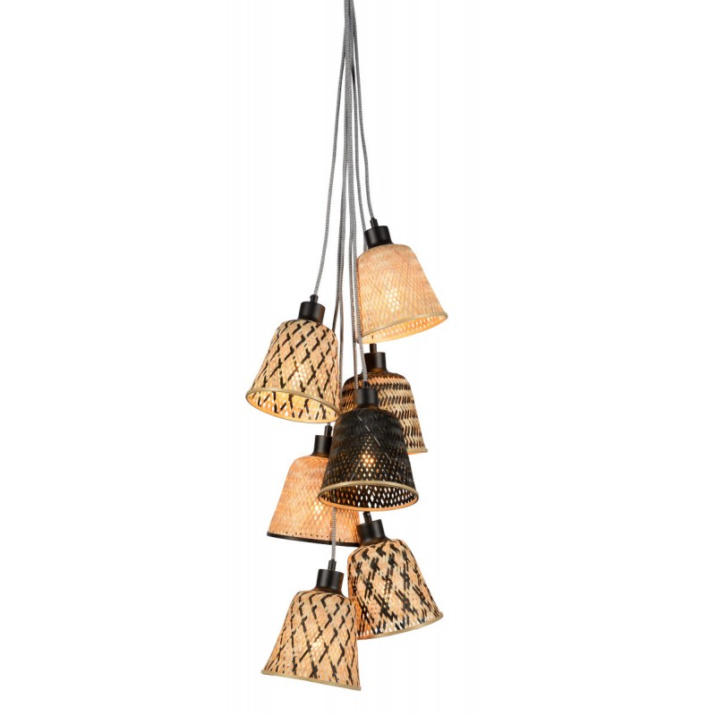 Lampe à suspension en bambou KALIMANTAN 7 abat-jours (naturel, noir) - image 45277
