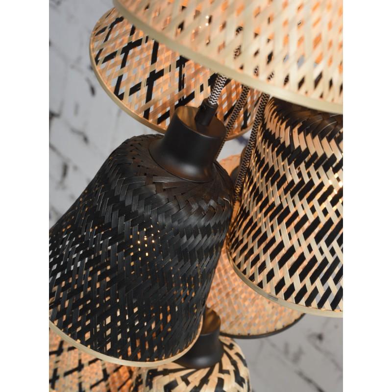 Lampe à suspension en bambou KALIMANTAN 7 abat-jours (naturel, noir) - image 45281