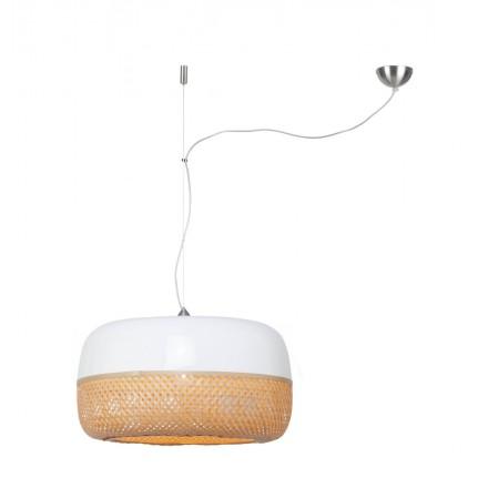 Lámpara de suspensión plana de bambú MEKONG (60 cm) 1 tono (blanco, natural)