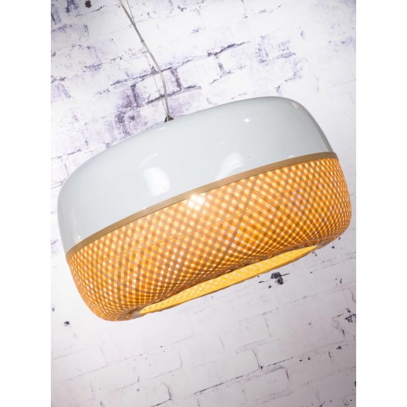 Lampe à suspension en bambou MEKONG plat (Ø 60 cm) 1 abat-jour (blanc, naturel) - image 45350