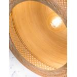 Lampe à suspension en bambou MEKONG plat (Ø 60 cm) 1 abat-jour (blanc, naturel)