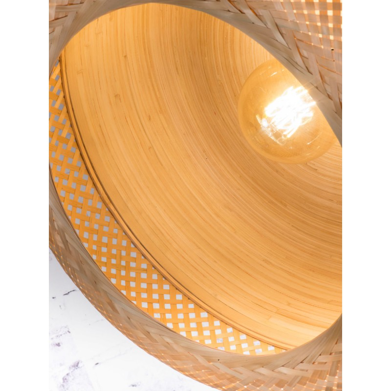MEKONG flache Bambus Hängeleuchte (60 cm) 1 Schattierung (weiß, natur) - image 45353