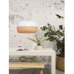 Lampada a sospensione MEKONG di bambù piatto (60 cm) 1 tonalità (bianca, naturale)