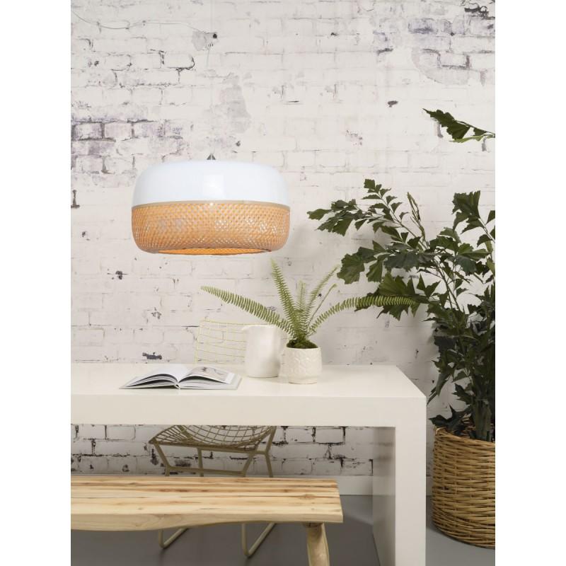 Lampe à suspension en bambou MEKONG plat (Ø 60 cm) 1 abat-jour (blanc, naturel) - image 45356