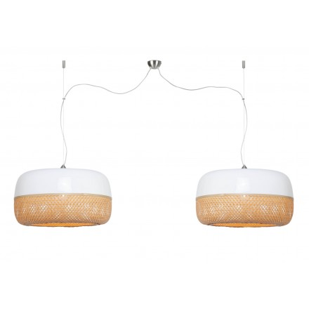 Lampe à suspension en bambou MEKONG plat (Ø 60 cm) 2 abat-jours (blanc, naturel)
