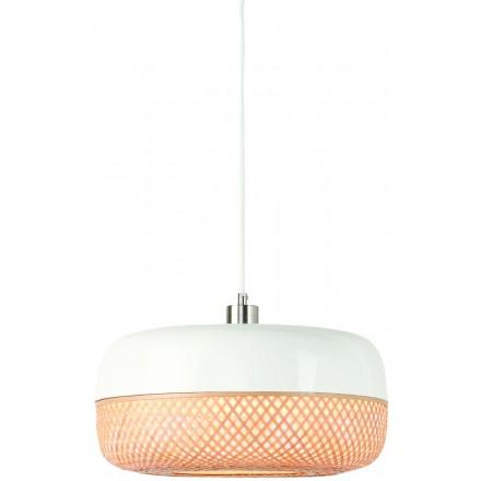 Lámpara de suspensión plana de bambú MEKONG (40 cm) (blanco, natural)