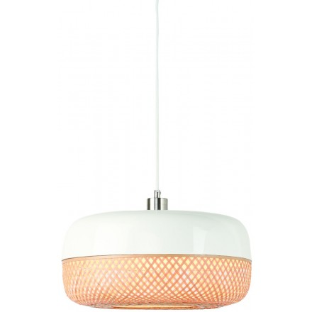 Lampe à suspension en bambou MEKONG plat (Ø 40 cm) (blanc, naturel)