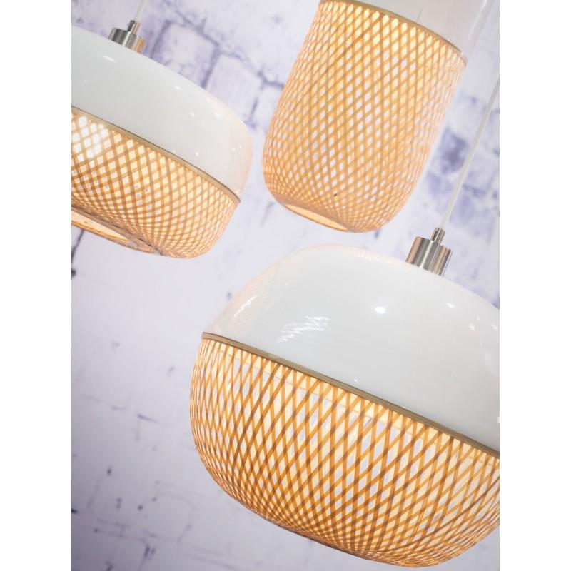 Lampada a sospensione in bambù rotondo MEKONG (40 cm) (bianca, naturale) - image 45375