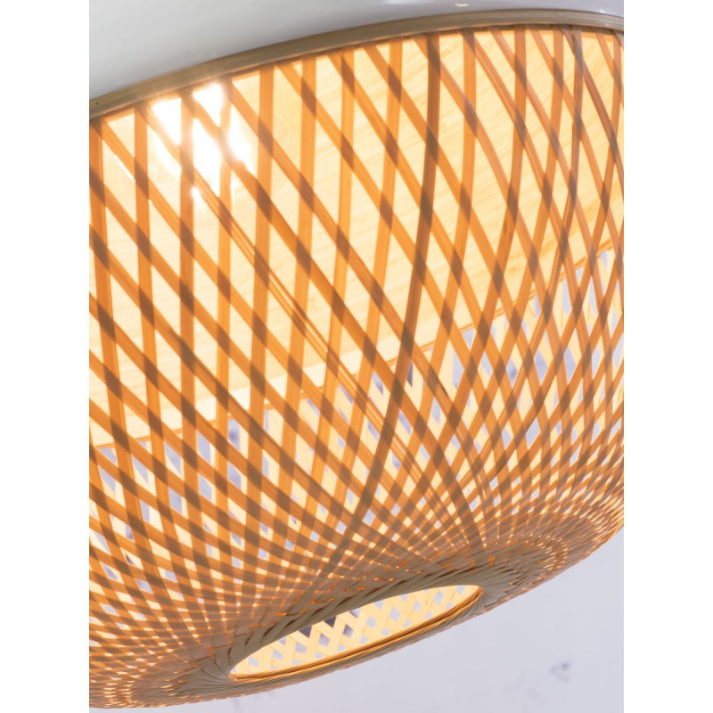 Lampada a sospensione in bambù rotondo MEKONG (40 cm) (bianca, naturale) - image 45376