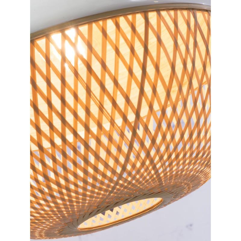 Lampe à suspension en bambou MEKONG rond (Ø 40 cm) (blanc, naturel) - image 45376