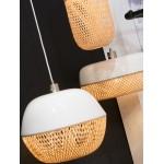 Lampe à suspension en bambou MEKONG rond (Ø 40 cm) (blanc, naturel)