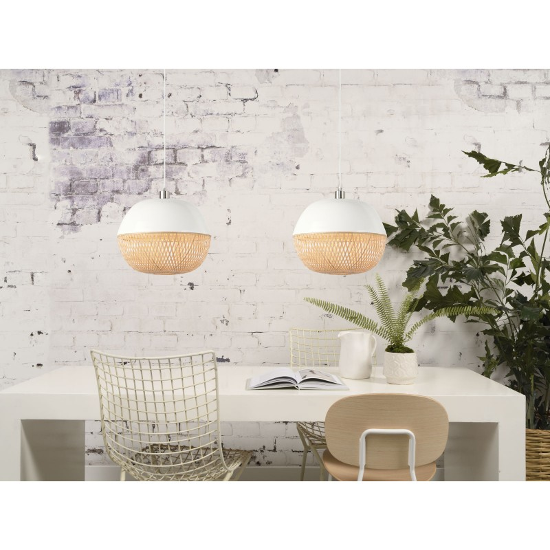 Lampe à suspension en bambou MEKONG rond (Ø 40 cm) (blanc, naturel) - image 45381