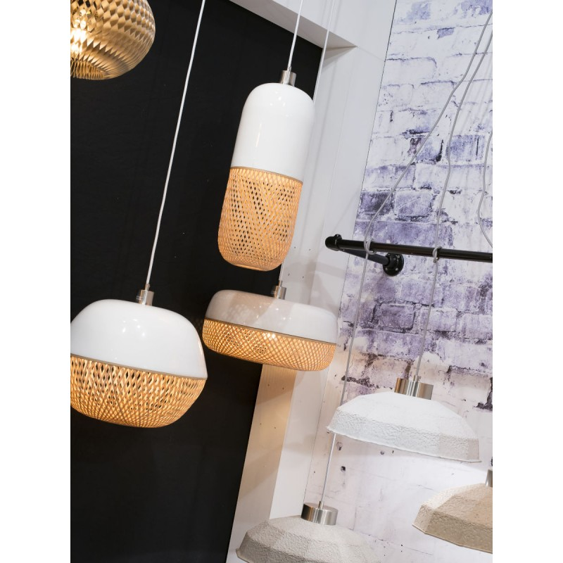 Lámpara de suspensión de bambú ovalada MEKONG (40 cm) (blanco, natural) - image 45387