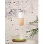 Lampe à suspension en bambou MEKONG oval (Ø 40 cm) (blanc, naturel)