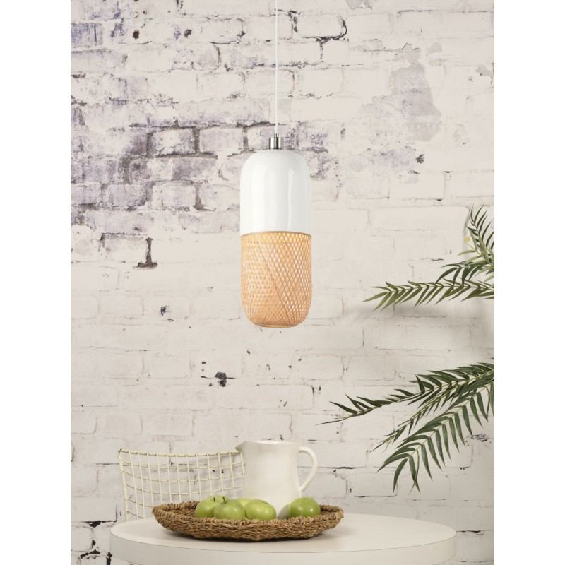 MEKONG oval bamboo suspension lamp (40 cm) (white, natural) - image 45393