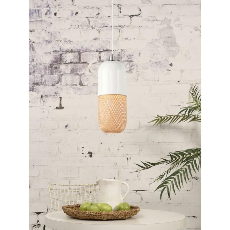 Lámpara de suspensión de bambú ovalada MEKONG (40 cm) (blanco, natural) - image 45393