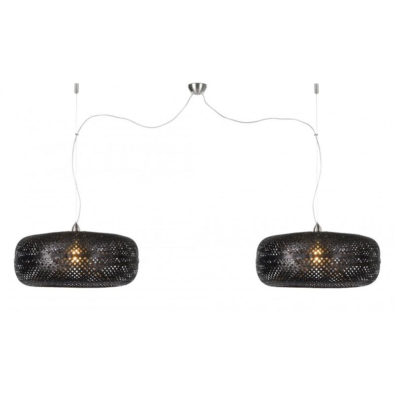 PALAWAN Bambus Hängeleuchte 2 Lampenschirme (schwarz) - image 45442