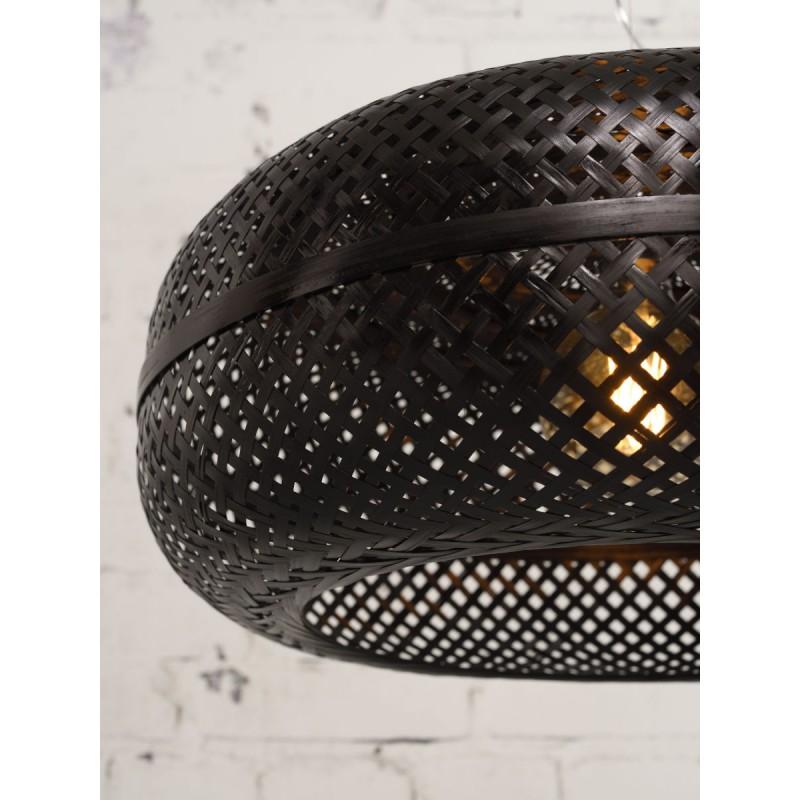 PALAWAN bamboo suspension lamp 2 lampshades (black) - image 45445