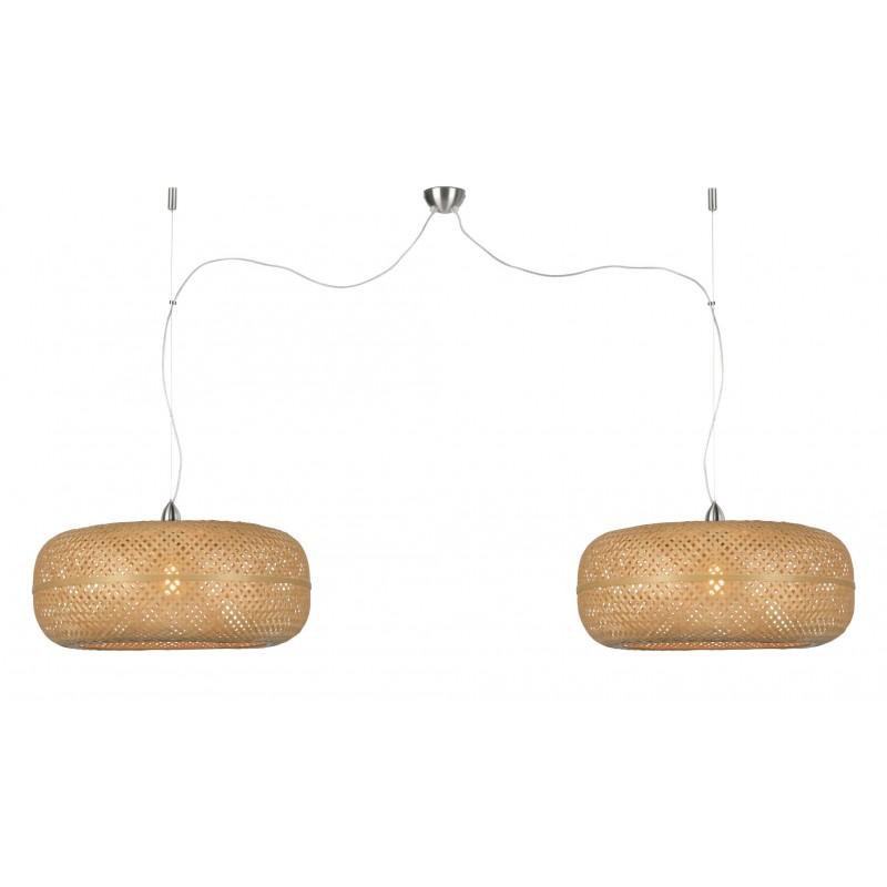 PALAWAN bamboo suspension lamp 2 lampshades (natural) - image 45449